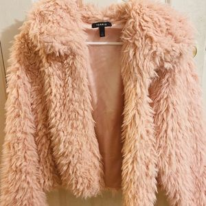 TORID BLUSH PINK FAUX SHEARLING CROP TEDDY JACKET